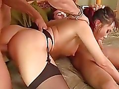 Hottie brunette babe fucked hard in doggy style by double cock !