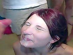 Four sluts at a homemade cumshot blowbang party