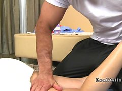 Blonde tranny got massage and anal fuck