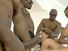 Hot babe Savannah Fox DP while sucking off dick of black men