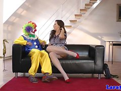 Mature stockinged lady rides clown cock