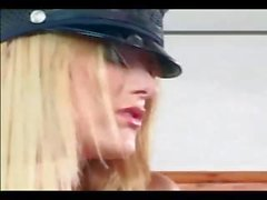 Pretty female cop in uniform and latex gloves fucking a guy