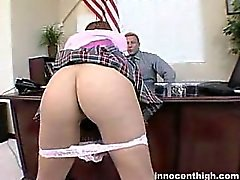 redhead schoolgirl takes panties down for a nice hard