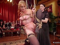 Female slaves orgy fucked at party