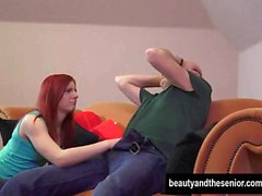 Redhead teen Vanessa gets nailed by senior Ronald