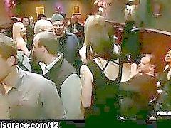 Locked up blonde grope in bar