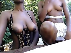 Irresistible chocolate beauties showing off their bodies on