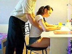 Pigtailed German schoolgirl with big hooters gets pounded d