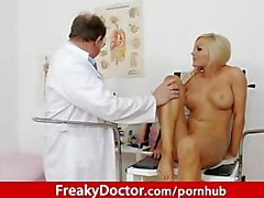 Gorgeous czech blonde Nicky Angel cunt clinic check-up