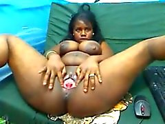latin ebony milking her tits like cow and has a phat pussy