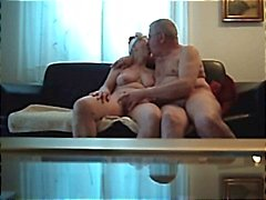 Horny chubby amateur granny gives hubby an early Christmas present