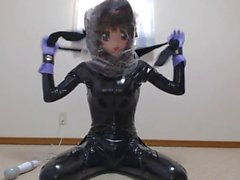 Kigurumi Girl in Latex and Breathplay with Vibrator