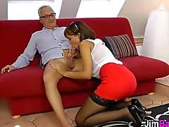 Teen honey fucks oldy with all her might