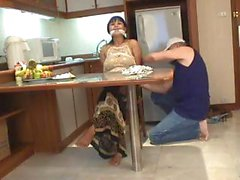 Horny burglar ties Asian girlie up and plays with her titties