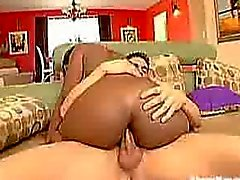 Black slut gets her ass stuffed with white cock