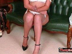 Brunette pornstar nylon and cumshot