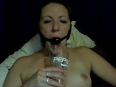 Ballgagged and drooling in a cup part 2