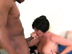 Curvaceous wife in stockings fucks a black stick and her man watches