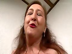 Pierced granny in bisexual threesome