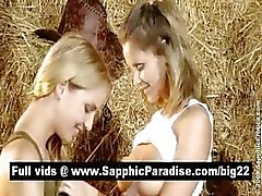 Naughty blonde and redhead lesbians kissing and licking nipples and having lesbia love