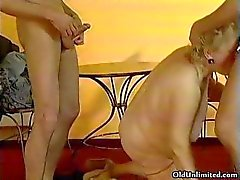 Fat old grandma gets fucked by two lucky part6