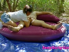 Mature dude fuck a sexy teen in the woods. Deepthroat and doggystyle hard f