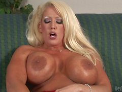 Blonde Alura Jenson with gigantic tits takes Huge toy