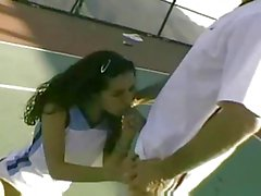 Threesome on the tennis court
