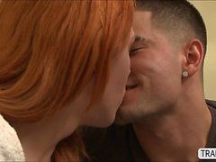 Redhead TS Aspen celebrates in anal sex
