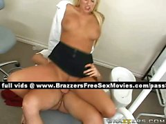 Superb blonde girl on the dentist chair