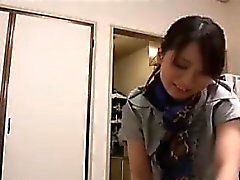 Attractive Japanese girl puts her wonderful massage skills