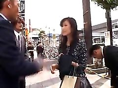 Beautiful Asian lady gets picked up on the street and rough