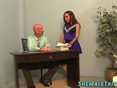 Cheerleader tgirl spunked