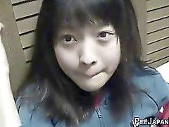 Oriental teenager urinate
