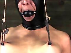 Nipple clamped slut in electrosex session