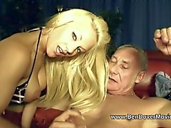 Lou Lou Petite rough fucked by old Ben Dover and Younger Jamie