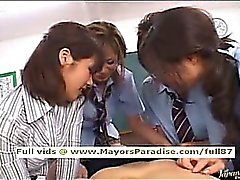 Japanese AV girl in school uniform hardcore orgy
