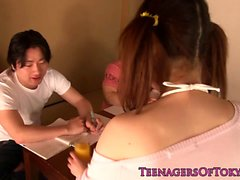 Asian pigtail teen in fishnets gets a facial