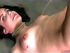 Brunette Girl Hanging With Legs Up Tortured With Hot Wax Spanked Ass And Mouth Fucked In The Dungeon