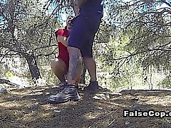 Fake cop bangs Latina babe in woods