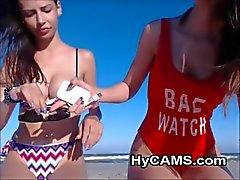 Hot Teens Teasing On The Beach