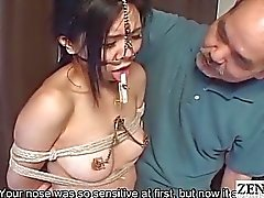 Extreme Japanese BDSM with nose hooks Subtitled