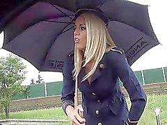 Blonde stewardess roadside bj n banging