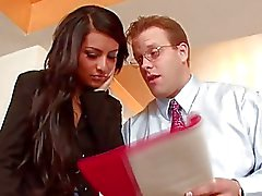Hot brunette girl has pussy licked by director in office on interview