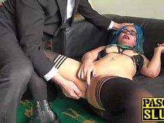 Nasty slut Caitlin Minx gets her ass spanked and masturbates