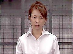 Blazing Japanese babe gets a facial cumshot after intense blowjob