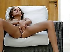 woman in shoes self pleasuring herself