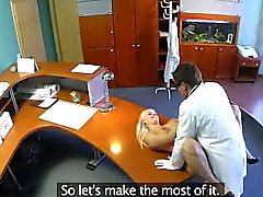 Blonde patient getting fucked hard on a desk