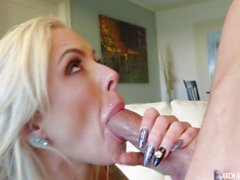 Busty Nina Elle sucking cock and eating cum