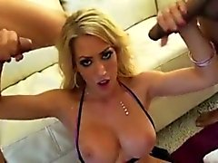 Blonde bimbo slut gets 3 black cock cumshot facials